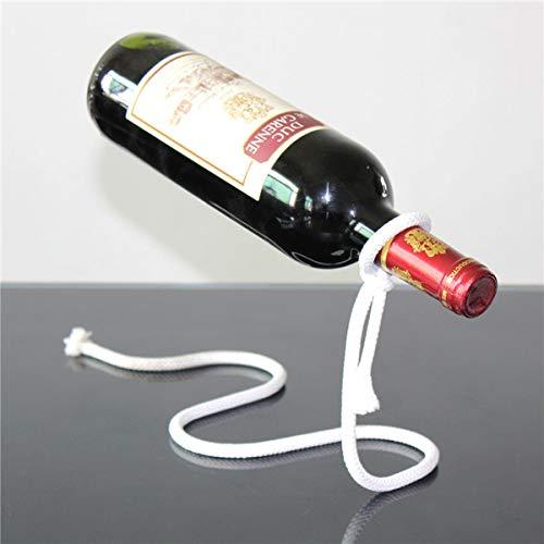 Creative Craft - Botellero con cadena para botellas de vino, diseño de cuerda blanca Elegante color blanco.