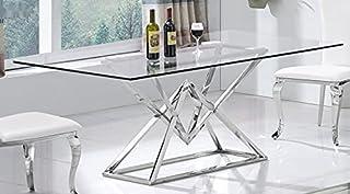 Daimond Table à manger design en acier inoxydable et verre 160 x 90 cm
