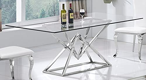 Daimond - Tavolo da pranzo di design, in acciaio INOX, in vetro, 180 x 90 cm