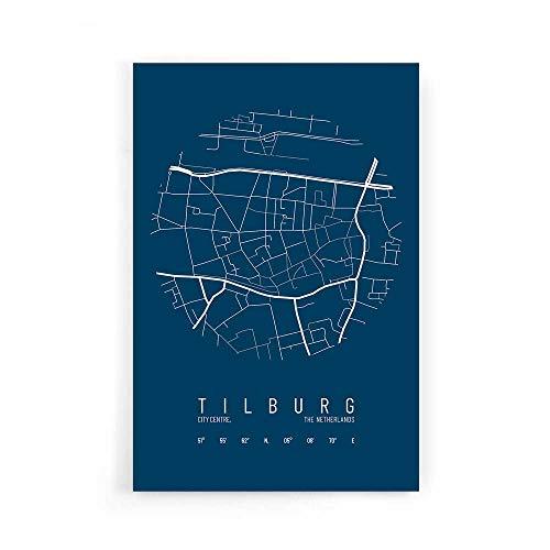 Stadskaart Tilburg Centrum IV - Walljar - Muurdecoratie - Schilderij - Plexiglas