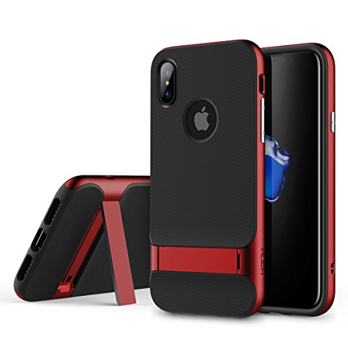ROCK Royce Stand Series Case, Dual Layer PC+TPU With Kickstand Shockproof Thin & Slim Case For iPhone X ( Color : Red )