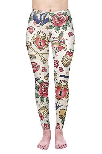 kukubird Printed Patterns Women's Yoga Leggings Gym Fitness Running Pilates Tights Skinny Pants Size 6-10 Stretchable-Valentines Tattoos