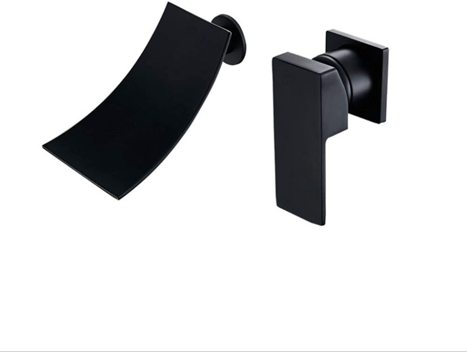Bathroom Sink Basin Lever Mixer Tap Black Full Copper Wall-Mounted Concealed Surface Basin, Platform Basin, Double-Hole Faucet, Wall-Waterfall Faucet