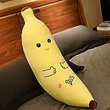 Cojín de peluche con forma de plátano grande para abrazar, color amarillo, juguete suave relleno, agradable fruta, cómodo, juguete para niños, 343 (color: B, tamaño: 80 C)