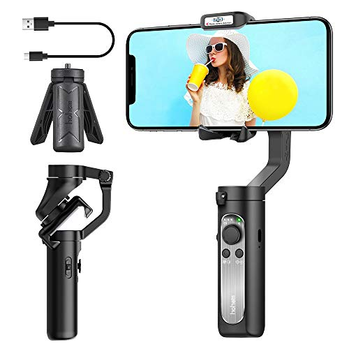 3-Axis Gimbal Stabilizer for Smartphone - 0.5lbs Lightweight Foldable Phone Gimbal for iPhone 11 Pro Max X XS, w/Auto Inception Dolly Zoom, Pocket Gimbal for Video Vlog Youtuber Hohem iSteady X Black