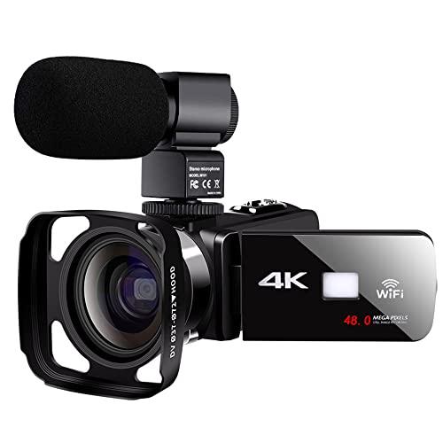 MAODEN Cámara de Video Digital 4K HD, 1080p 48 Millones con WiFi en el hogar Videocámara en Vivo Cámara Digital DV con Parasol y micrófono, para grabación de Blogger, Uso en el hogar
