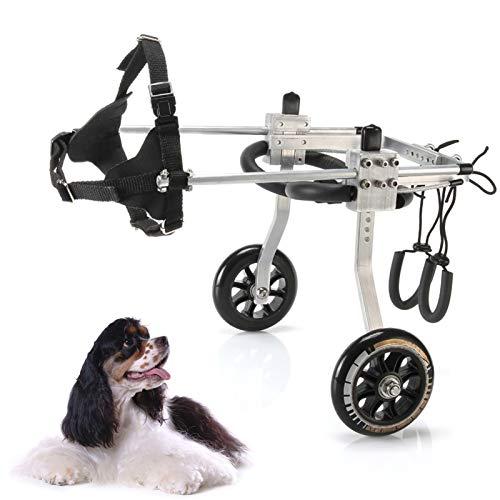 Silla de ruedas ajustable para perros en silla ruedas con soporte completo, para la rehabilitación las patas traseras, para perro discapacitado perro viejo DM Lesión espinal Artritis ( Size : S )