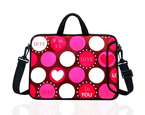 14-Inch Laptop Shoulder Bag Sleeve Case with Handle for 13' 13.3' 14' 14.1' Netbook/MacBook Air Pro (Red Heart)