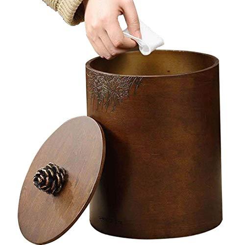 TJLMZ Cubo de la Basura del diseño de Madera torched marrón Oscuro/Bote de Basura Decorativo pequeño for el Dormitorio, el Cuarto de baño y la Oficina