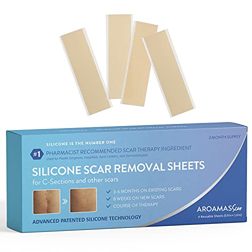 """Aroamas Silicone Scar Removal Sheets Professional for Scars Caused by Burn, Keloid, Acne, and more, C-Section, Surgery, Soft Adhesive Fabric Strips, Drug-Free, 2 Month Supply 5.7""""×1.57"""", 4 pcs"""