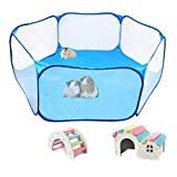 Hamster Foldable Exercise Playpen, Breathable and Transparent Pet Playpen, Indoor/Outdoor Cage Small Animal Fence for Syrian Hamster Rats Chinchillas Rabbit Guinea Pigs Gerbils Hedgehogs Reptiles