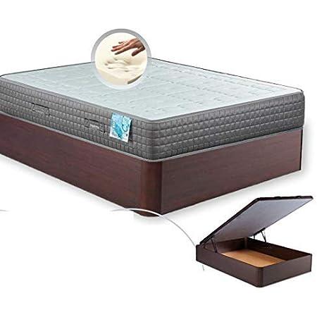 MI CAMA ME LLAMA ESPECIALISTAS EN DESCANSO Canapé de Madera Cheap + Colchón viscoelástico Reversible Premium - Montaje Incluido (Wengue, 135x190)