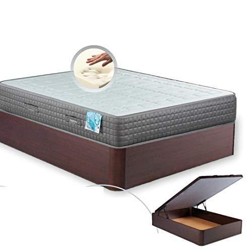 MI CAMA ME LLAMA ESPECIALISTAS EN DESCANSO Canapé de Madera Cheap + Colchón viscoelástico Reversible Premium - Montaje Incluido (Wengue, 150x190)