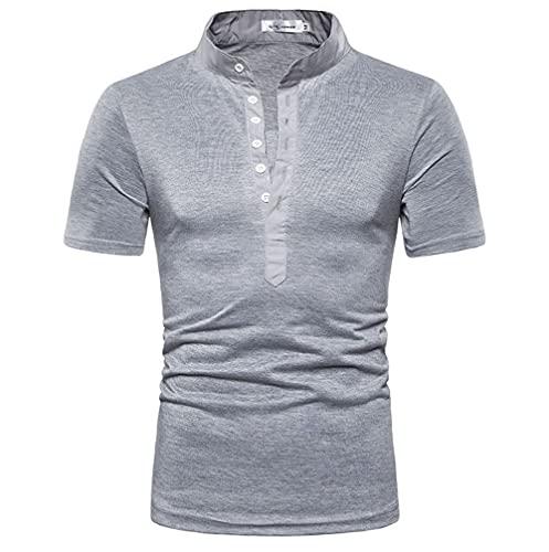 Shirt Hombres Básico Color Sólido Verano Transpirable Elástico Hombres Polo Tapeta Botones Shirt Ocio Manga Corta Cuello Alto Urbanos Negocios Modernos Hombres Shirt Sin Cuello D-Grey 2 M