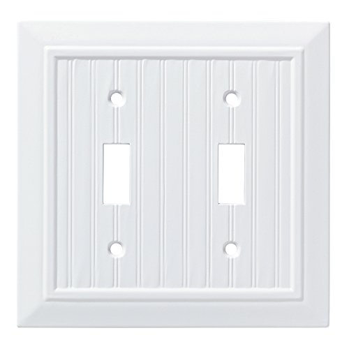 Franklin Brass W35268-PW-C Classic Beadboard Double Switch Wall Plate/Switch Plate/Cover, Pure White