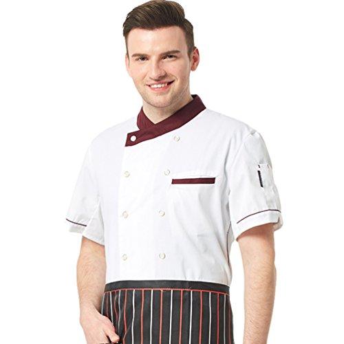 Dooxii Unisex Donna Uomo Estate Manica Corta Giacca da Chef Mode Professionale Ristorante Occidentale Torta di Cottura Uniformi Divise da Cuoco Bianca 2XL