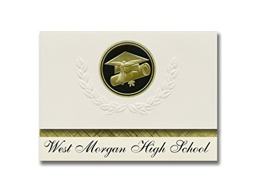 Signature Announcements West Morgan High School (Trinity, AL) Graduation Ankündigung, Presidential Style, Elite Paket mit 25 Cap & Diplom Siegel Schwarz & Gold