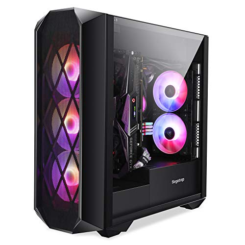 Segotep Argus ATX Mid Tower Gaming Desktop Computer Case with Tempered Glass w/ 3X 120mm RGB Fans Pre-Installed, Type-C