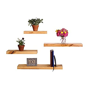 DAKODA LOVE 5.25  Deep Clean Edge Floating Shelves, USA Handmade, Clear Coat Finish, 100% Countersunk Hidden Floating Shelf Brackets, Beautiful Grain Pine Wood Wall Decor (Set of 4) (Natural)