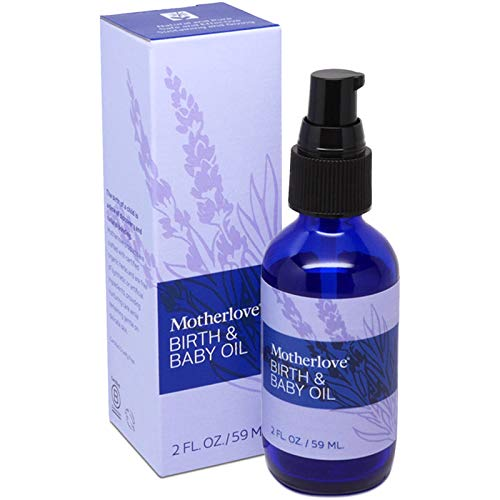Motherlove Birth & Baby Oil (2oz) Lavender Infused Oil for Perineal Massage—Gentle Moisturizer for Baby's Dry Skin & Scalp, Great for Infant Massage—USDA Organic Herb, Non-GMO, Cruelty Free, Vegan