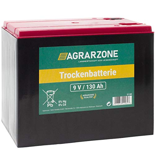 Agrarzone Weidezaunbatterie 130Ah - 9V Zink-Luft Batterie Trockenbatterie