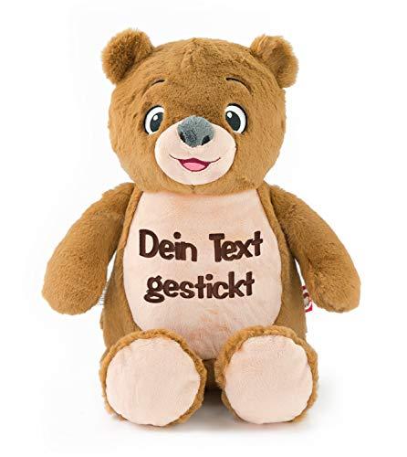 Teddybär mit Namen und Geburtsdatum Bestickt, Teddy Hellbraun Plüschtier Kuscheltier personalisiert 30cm, Geschenk personalisierbar mit Stickerei