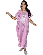Moroccan Caftan Women Light Weight Linen Handmade with Embroidery Fits Small To Large Cover-up Lounge wear Ethnic Design Pink