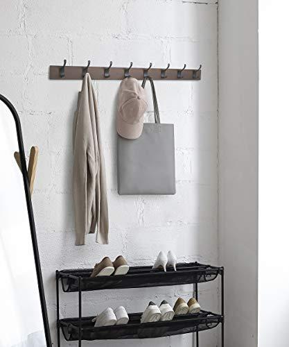 AmazonBasics - Perchero de madera de pared, 8 ganchos modernos 92 cm, Café