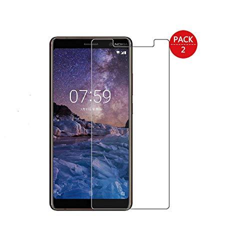 MaxQual Compatibile con Pellicola Protettiva Vetro Temperato Nokia 7 Plus, 9H Durezza, Senza Bolle, Kit d'Installazione 2 Pezzi