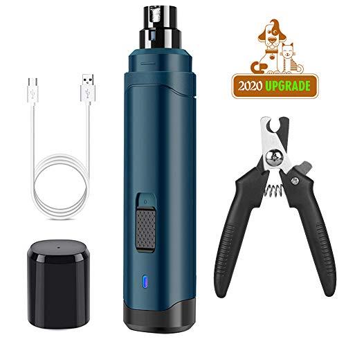 KASTEWILL Krallenschleifer für Hunde und Katzen, Elektrische Nagelfeile mit 3 Schleif Ports 2 Geschwindig USB-Anschluß, Kostenlose kleine Krallenschere(Type 1)