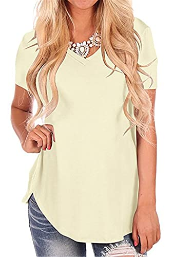 FRMUIC Camiseta de manga corta para mujer, color sólido, cuello en V, modal, holgada, informal, de moda, básica, Albaricoque, S