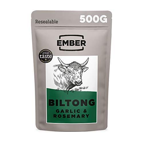 Ember Biltong Großpacksack - Beef Jerky - Proteinreicher Snack - Knoblauch und Rosmarin (1x500g)