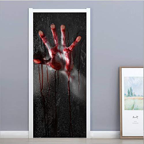 Wegji Halloween Blut Palm Kreative 3D Türaufkleber Persönlichkeit Holztür Dekoration Wandaufkleber Renovierung Wandaufkleber 200X77 cm