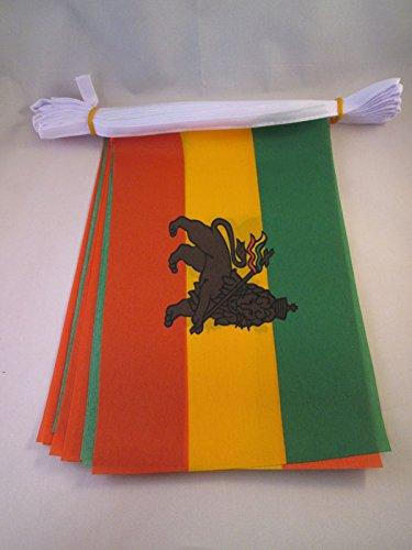 AZ FLAG FAHNENKETTE ÄTHIOPIEN MIT LÖWEN 6 Meter mit 20 flaggen 21x14cm - ÄTHIOPIEN Girlande Flaggenkette 14 x 21 cm