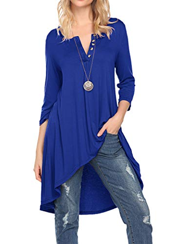 Naggoo Women's Half Sleeve High Low Loose Fit Casual Tunic Tops Tee Shirt Plus Size (XL, Royal Blue)