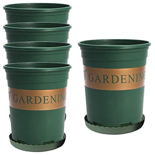 5 Piezas 16cm Macetas Plastico con Platillo Jardineras Exterior Planta Plastico para Plantas...