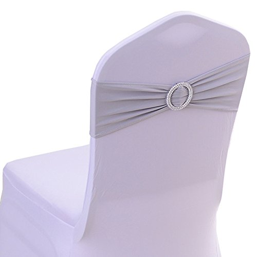 Spandex Chair Cover Stretch Band With Buckle Slider Sashes Bow Wedding Banquet Decoration 10PCS (Silver)