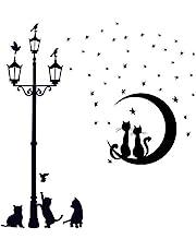 VINFUTUR 2 sets Katten Muurstickers Lamp Kat & Katten Maan Sterren Muurstickers Zelfklevende PVC Leuke Dier Thema DIY Muur Kunsten voor Kids Kamer Woonkamer Slaapkamer Trappen Verwijderbare Muurstickers