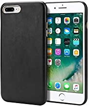 Hanlwza Case For iPhone 7 Plus and iPhone 8 Plus Case Cover, 4-edge Protection Premium Synthetic Leather Case Smartphone Bumper BacK Case with Metal Buttons for iPhone 7/8 Plus (Color : Black)