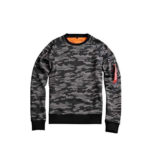 ALPHA INDUSTRIES Mens Herren Sweater X-fit Camo Sweatshirt, Black Camouflage, M