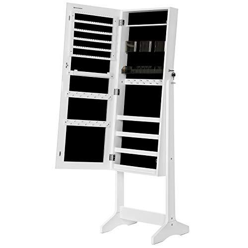 SONGMICS Mirror Jewelry Cabinet Armoire, Freestanding Lockable Storage Organizer Unit with 2 Plastic Cosmetic Storage, White UJJC002W01