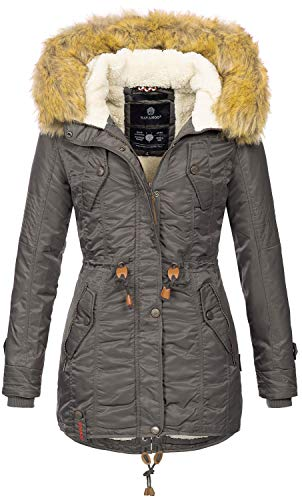 Navahoo warme Damen Winter Jacke Teddyfell Winterjacke Parka Mantel B399 (M, Anthrazit)