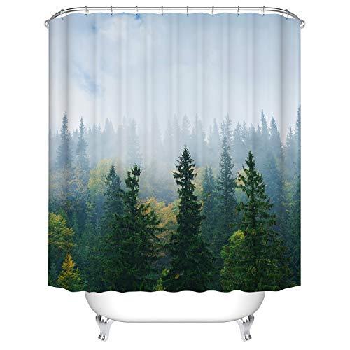 Hibbent Duschvorhang, 180x180 Schimmelresistenter 12 Haken -grüner Wald(180 * 180cm)