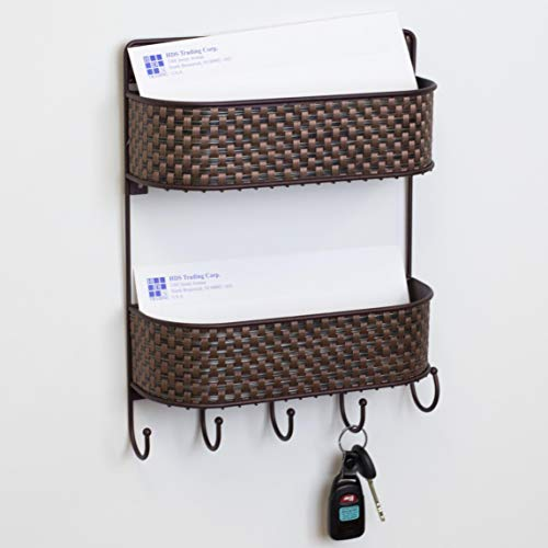 Home Basics Wall Mount 2 Tier Hanging Mail Organizer/Letter Holder, Wire Basket with 5 Hooks - for Entryway, Kitchen, Office | Key, Bill