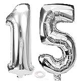 SNOWZAN Globo de 15º cumpleaños plateado niña niño número 15 globos gigantes globos de helio número 15 globos grandes números 15 años XXL 15 cumpleaños para fiesta