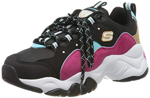 Skechers Women's D'Lites 3.0 Trainers, Black (Black & Pink Leather/Black Mesh/Blue & Air Trim Bblp), 8 (41 EU)