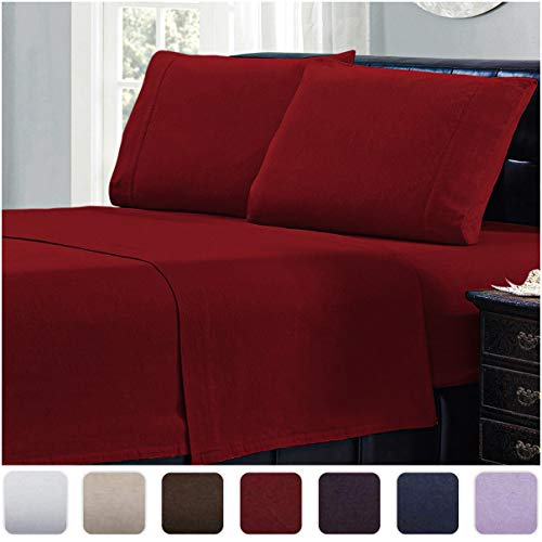 Mellanni 100% Cotton Flannel Sheet Set - Lightweight 4 pc Luxury Bed Sheets - Cozy, Soft, Warm, Breathable Bedding - Deep Pockets - All Around Elastic (King, Burgundy)