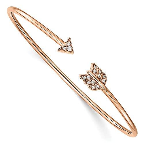 Brazalete apilable de oro rosa de 14 quilates con diseño de flecha de diamante para mujer
