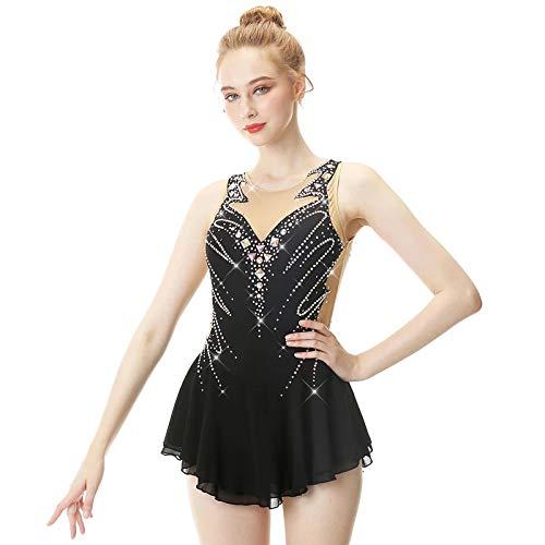 Vestido de patinaje artstico para nia, falda clsica de hielo, color negro, 8