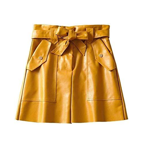 ERLIZHINIAN Frauen schicke PU Lederrock Fliege Gürteltaschen Reißverschluss Eine Linie weibliche gelb modische Casual Röcke fliegen (Color, Size : M)